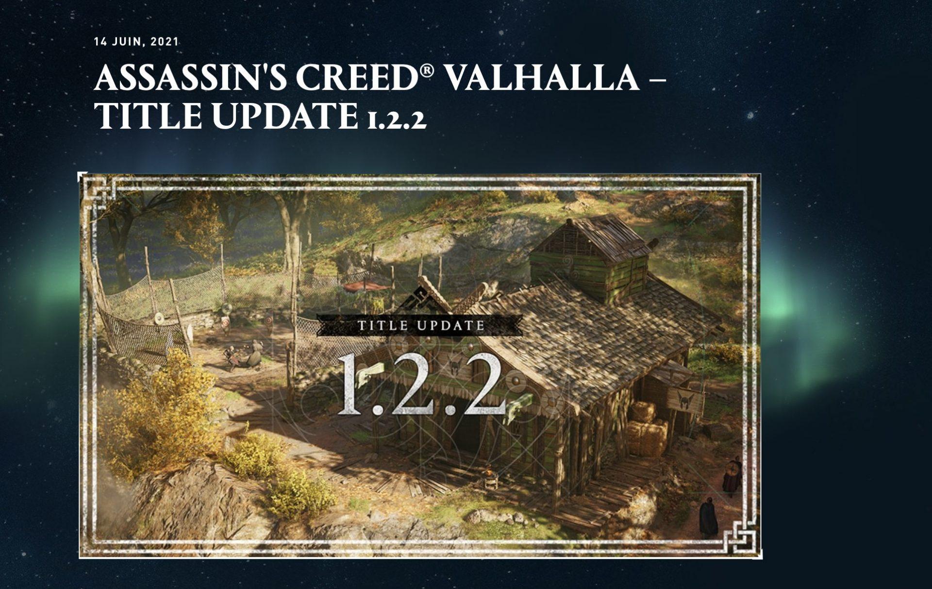 Assassin's Creed Valhalla : mise à jour 1.2.2