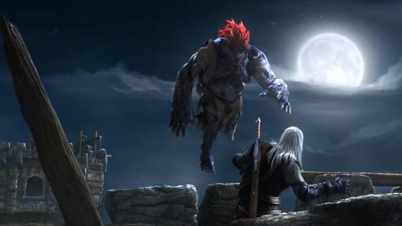 Wiedźmin Edycja Rozszerzona - potwór skacze na Geralta