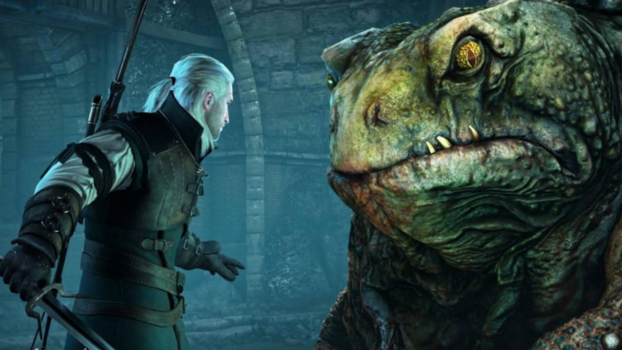 Wiedźmin 3 - Geralt walczy z potworem w kanałach