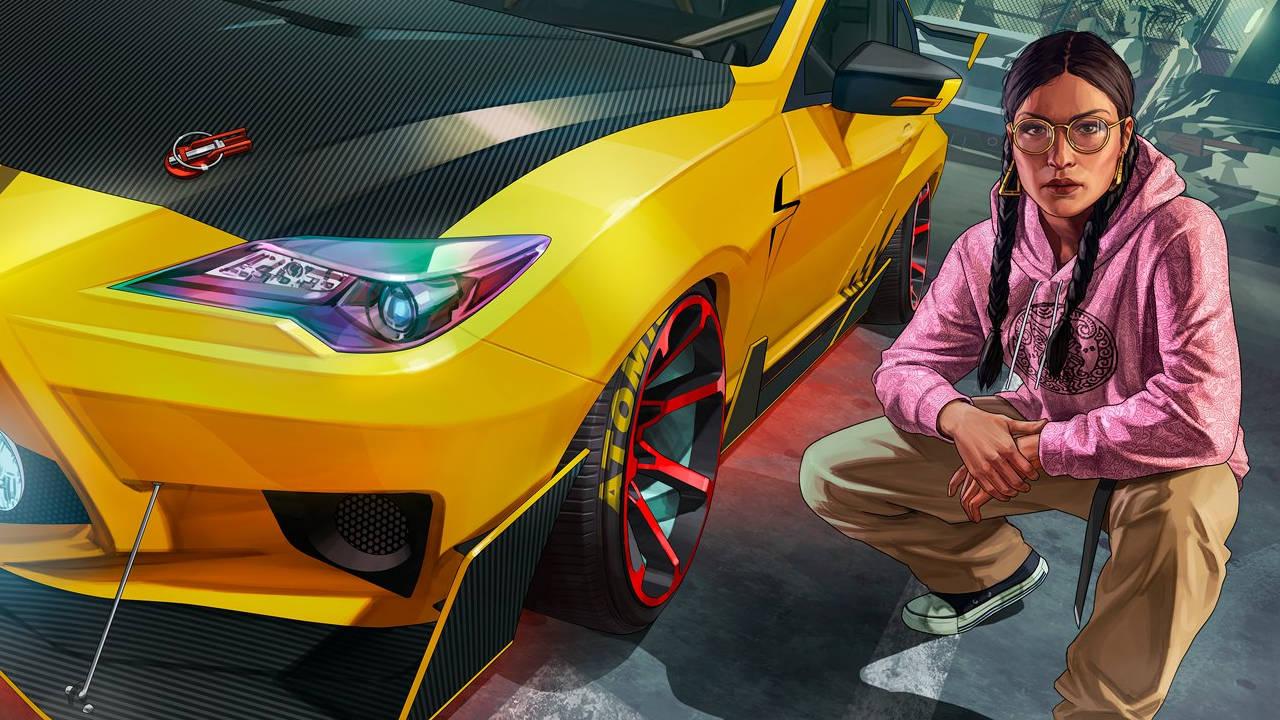 """GTA Online - żółty, sportowy samochód i kobieta, która prawie robi """"słowiański przykuc"""""""