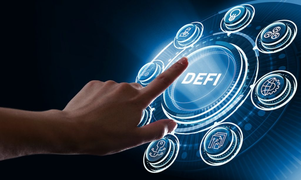 DeFi -Decentralized Finance on dark blue abstract polygonal background. Concept of blockchain, decentralized financial system